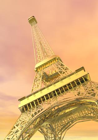 French golden Eiffel tower viewed from down in pink cloudy sky, Paris, France photo