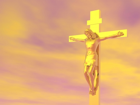 baptist: Golden Jesus-Christ cross in cloudy orange sky background Stock Photo