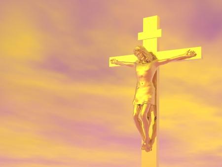 methodist: Golden Jesus-Christ cross in cloudy orange sky background Stock Photo