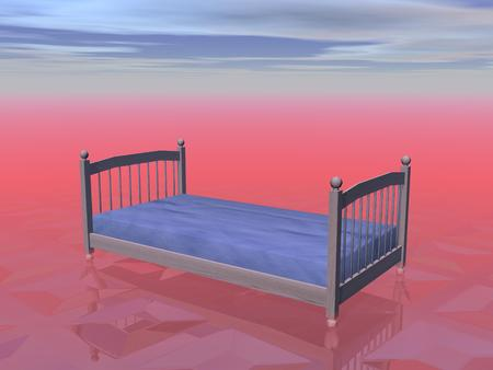 A simple bed for one person in red cloudy background photo