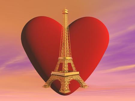 French golden Eiffel tower in front of red heart shape into pink cloudy sky, Paris, France photo