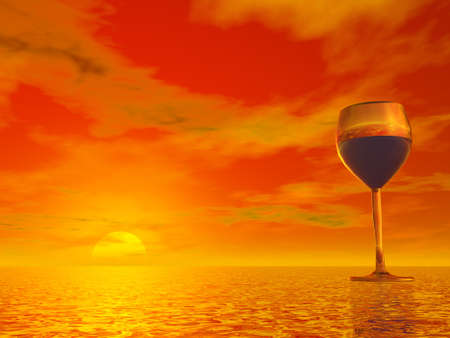 vineyard sunset: Glass with red wine inside upon water at beautiful colorful sunset