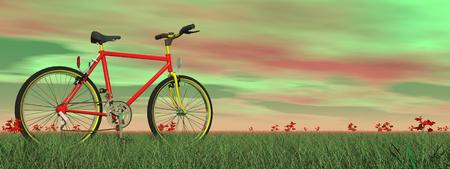 Red mountain bike on green grass with little flowers by colorful sunset photo
