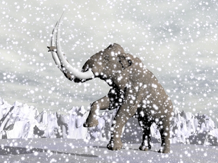 Mammoth walking in the mountain by snowing winter weather