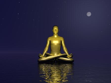 Golden man meditating on quiet water by dark night with full moon photo