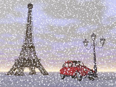 French Eiffel tower next to red typical car and old streetlamp by snowing winter weather, Paris, France photo