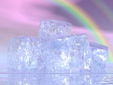Close up on many ice cubes in front of beautiful rainbow photo