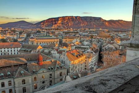 View on Geneva city and Saleva mountain by sunset from Saint-Pierre cathedral, Switzerland  HDR  Standard-Bild