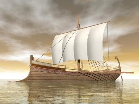 ancient ships: Old greek boat floating on the ocean by cloudy brown day