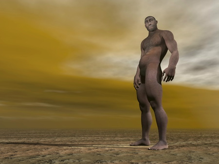 homo: One male homo erectus standing on the ground by grey and brown cloudy day