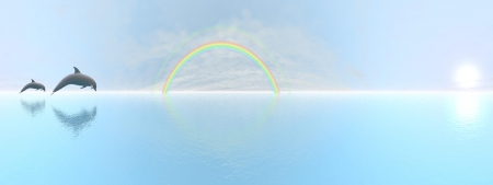 Dolphins jumping upon the ocean next to rainbow by beautiful day, 360 degrees effect