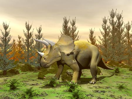 One triceratops dinosaur standing in nature with green grass and fir trees by sunset photo