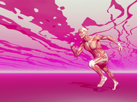 Realistic side view of man muscles running in pink background photo