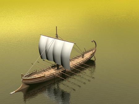 ancient greek: Old greek boat floating on the ocean by brown day