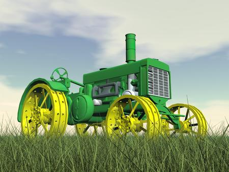 Close up of yellow and green antique tractor on grass by cloudy day photo