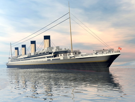 3d boat: famous Titanic ship floating on the water by sunset