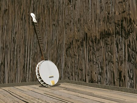 One banjo in a room of brown wood