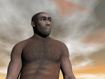 One male homo erectus bust in grey and brown cloudy day photo