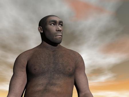 erectus: Un busto de homo erectus masculino en d�a nublado gris y marr�n