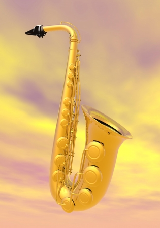 One golden saxo alto in yellow cloudy background photo