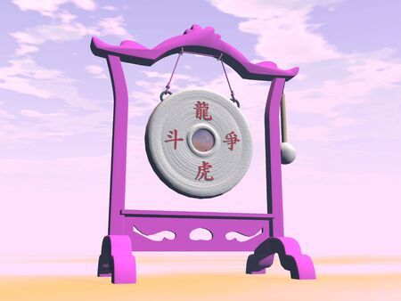 Close up of pink gong in cloudy nature Stock Photo - 24661724