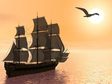 Close up of a beautiful detailed old merchant ship next to seagull by sunset
