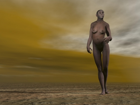 homo: One female homo erectus standing on the ground by grey and brown cloudy day