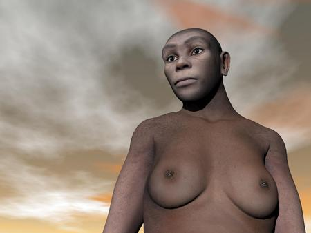One female homo erectus bust in grey and brown cloudy day Stock Photo - 24661805