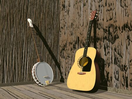 western style room: One banjo and guitar in a room of brown wood Stock Photo