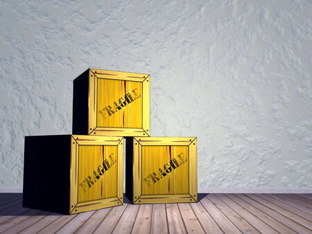 Three fragile crates in a room next to the wall photo