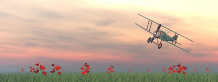 Vintage biplane standing on the green grass with flowers by pink sunset Фото со стока