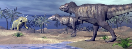 Two tyrannosaurus attacking one triceratops dinosaur in desertic landscape with palm trees and water by night