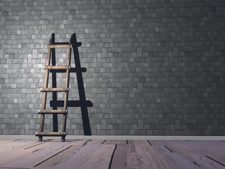 Wood ladder on wooden floor and against a brick wall photo