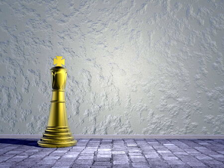 king street: One golden chess king alone in the street