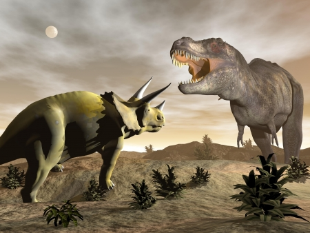 One tyrannosaurus roaring at triceratops dinosaur in desertic landscape by night