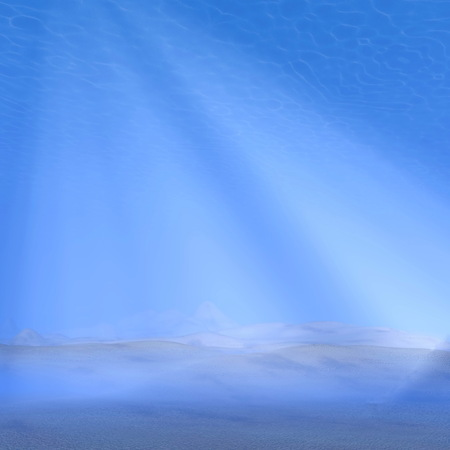 submerged: Underwater scene with ground of sand and raylights