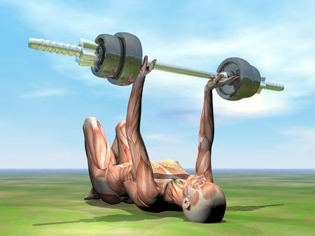 One female lying exercising with a dumbbell on the grass by beautiful day photo