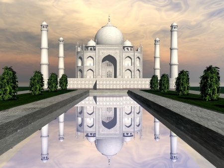agra: Famous Taj Mahal mausoleum and nature around by sunset, Agra, India