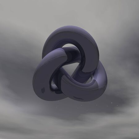 Black metallic infinity shape in dark cloudy background photo
