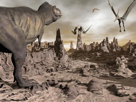 pteranodon: One tyrannosaurus dinosaur running to pteranodons flying upon brown rocky desert by night