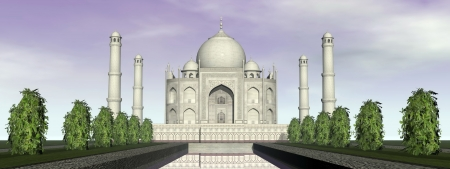 mausoleum: Famous Taj Mahal mausoleum and nature around, Agra, India Stock Photo