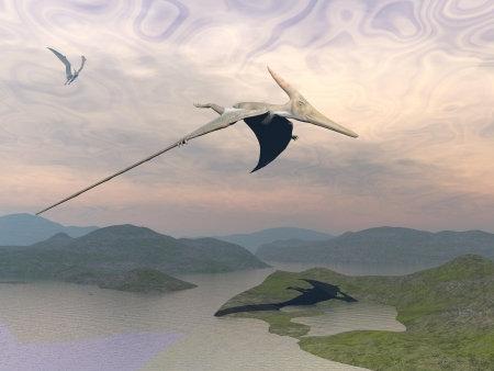 Two pteranodon dinosaurs flying upon landscape with hills and water in cloudy sunset sky photo