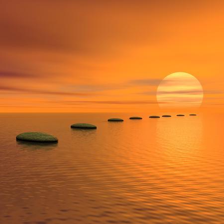 Pierres grises étapes sur l'océan va soleil au coucher du soleil Banque d'images