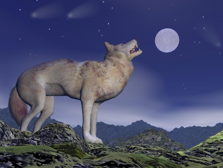 One wolf howling at full moon by deep blue night upon the mountains photo