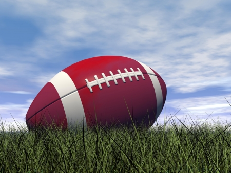 Close up of red and white rugby ball on green grass by beautiful day photo