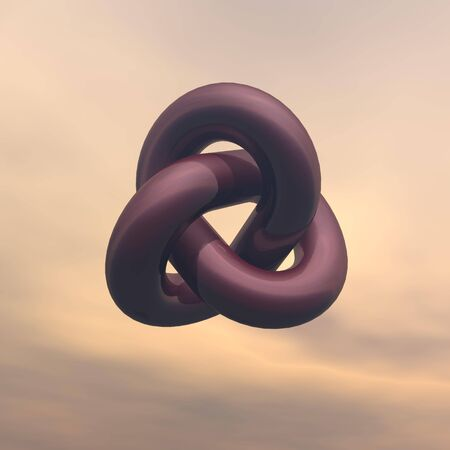 Burgundy metallic infinity shape in cloudy background photo