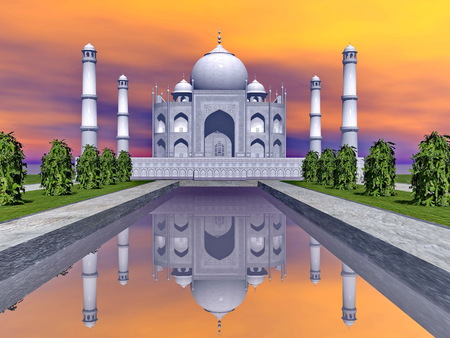 mausoleum: Famous Taj Mahal mausoleum and nature around by colorful sunset, Agra, India
