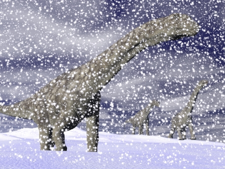 One argentinosaurus dinosaur walking in the snow by cloudy winter photo