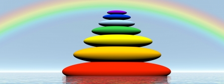 chakra energy: Seven stones with chakra colors in balance upon the water under rainbow