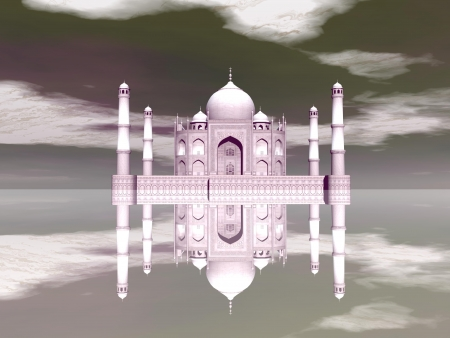 mausoleum: Famous Taj Mahal mausoleum and its mirror reflection by day, Agra, India